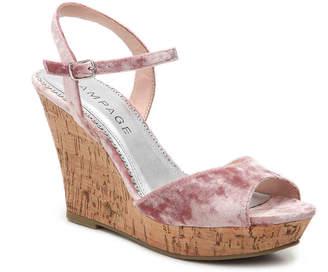 Rampage Crissy Velvet Wedge Sandal - Women's