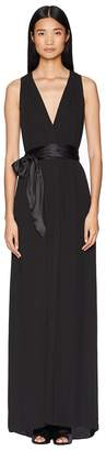 Halston Sleeveless V-Neck Flowy Gown w/ Sash Women's Dress