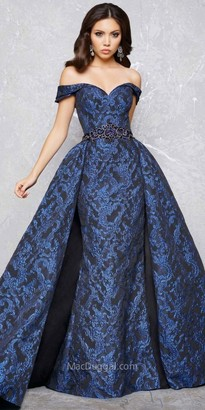 Mac Duggal Damask Brocade Off the Shoulder Sweetheart Ball Gown $798 thestylecure.com