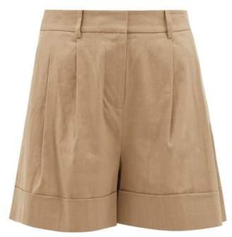 Diane von Furstenberg Shiana Turned Up Cuff Linen Blend Shorts - Womens - Beige