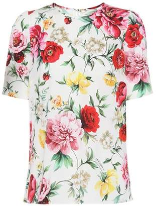 Dolce & Gabbana Floral printed silk-blend top