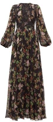 Giambattista Valli Lace Panelled Floral Print Silk Georgette Dress - Womens - Black Multi