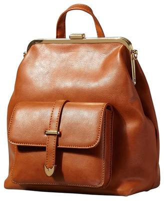Yumi Tan Vintage Clasp Backpack With Front Pocket