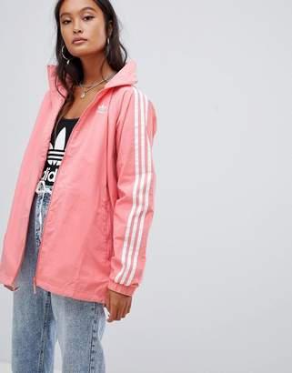 adidas Three Stripe Hooded Jacket In Pink