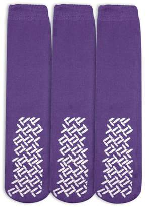 Nobles Health Care Product Solutions Nobles Assorted Anti Skid/ No Slip Hospital Gripper Socks, Great for adults, men, women. Designed for medical hospital patients but great for everyone (3 Pairs Purple)