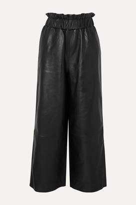 Ganni Leather Wide-leg Pants - Black