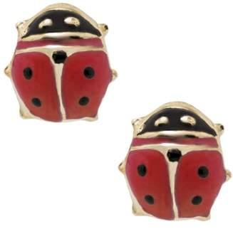 Mignonette 14k Gold & Enamel Ladybug Earrings