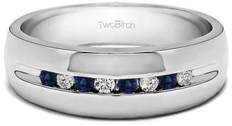 TwoBirch Diamonds (G,I2) and Sapphire Mounted in Sterling Silver Diamonds (G,I2) and Sapphire Men's Fashion Ring (0.32crt)