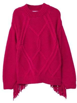 MANGO Fringed cable-knit sweater