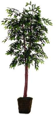 6-Foot Fabric Smilax Tree in Green with Dark Brown Rattan Basket