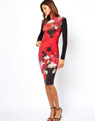 291df2cbfd4 Asos Design Pretty Rose Print Bodycon Dress