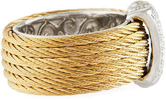 Alor Classique Steel & 18k Diamond Micro Cable Ring, Size 7, Gold