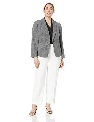 Le Suit Women's Plus Size 1 Button Shawl Collar Novelty Slim Pant Suit