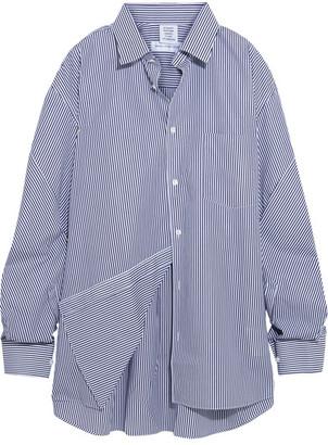 Vetements - Comme Des Garçons Packshot Oversized Striped Cotton-poplin Shirt - Navy $890 thestylecure.com
