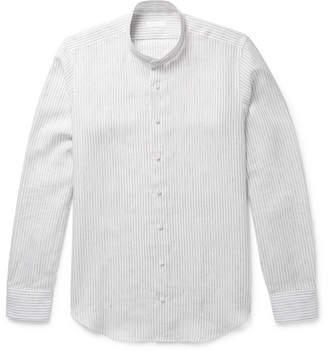 P. Johnson Mao Grandad-Collar Striped Linen Shirt