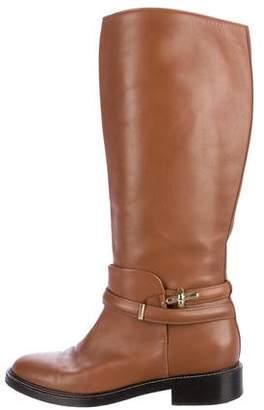 Balenciaga Leather Round-Toe Knee-High Boots