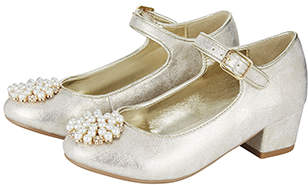 Monsoon Metallic Pearl Pom Pom Charleston Shoes