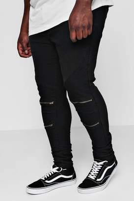 boohoo Big And Tall Skinny Fit Zip Knee Biker Jean
