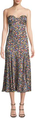 Veronica Beard Annika Strapless Floral Dropped-Waist Midi Dress