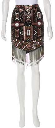 Haute Hippie Embellished Knee-Length Skirt