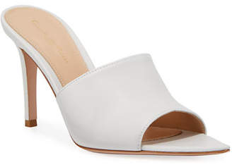 Gianvito Rossi Point-Front Smooth Leather Slide Sandals