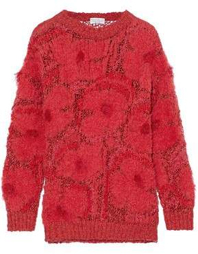 Frayed Bouclé And Open-Knit Sweater