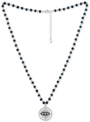 Rachel Roy Silver-Tone Pave & Blue Bead Eye Pendant Necklace