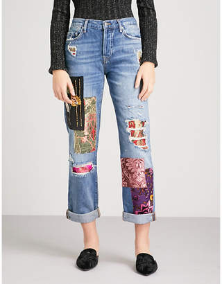 Free People Embellished-patch boyfriend-fit high-rise jeans