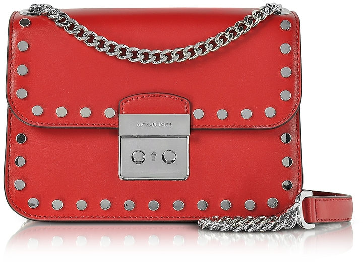 MICHAEL Michael Kors Michael Kors Sloan Editor Medium Bright Red Leather Chain Shoulder Bag w/Studs