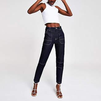 River Island Dark blue tapered jeans