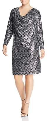 MICHAEL Michael Kors Printed Metallic Cowl-Neck Dress