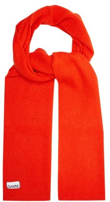 Ganni Ribbed Lambswool Blend Scarf - Womens - Red