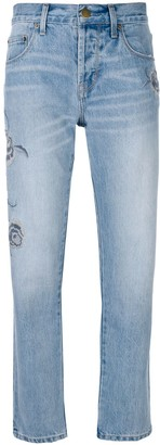 Current/Elliott embroidered straight-leg jeans
