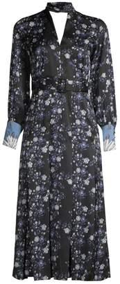 Sandro Bonny Long Sleeve Keyhole Belted Dress