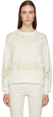 See by Chloe White Knit Lace Crewneck