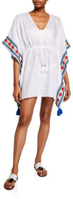 Tory Burch Ravena Embroidered Linen Beach Caftan