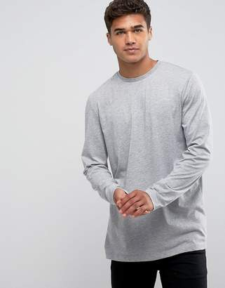 Asos Design DESIGN longline long sleeve t-shirt in grey