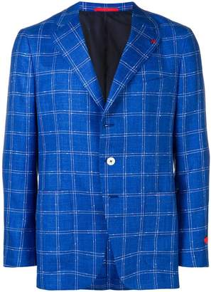 Isaia check buttoned blazer