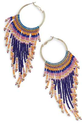 Nakamol Design Beaded Fringe Hoop Earrings