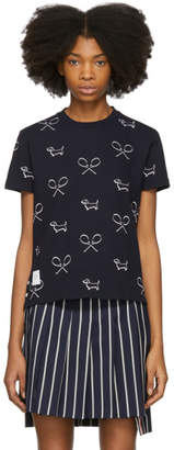 Thom Browne Navy Allover Shadow Embroidery Polo