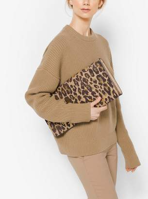 Michael Kors Christy Extra-Large Leopard Intarsia Suede Clutch