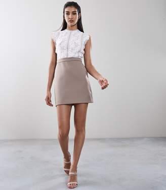 Reiss SALLY LACE DETAIL DRESS White/ Mocha
