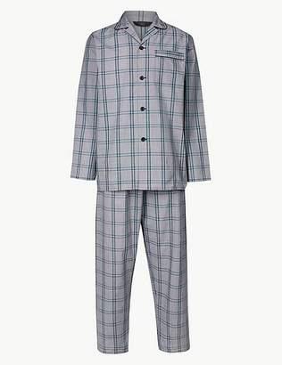 Marks and Spencer Cotton Blend Checked Pyjama Set