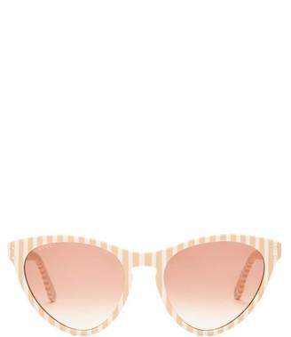 Gucci Striped Cat Eye Acetate Sunglasses - Womens - Beige White