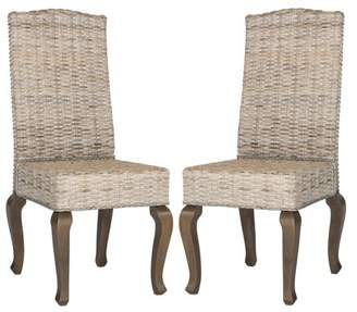 """Safavieh Milos 18"""" High Wicker Dining Chairs, Multiple Colors, Set of 2"""