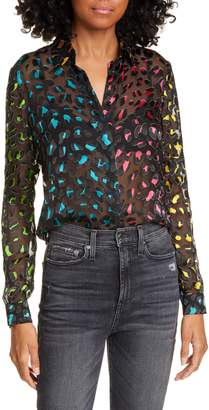 Alice + Olivia Willa Abstract Leopard Print Burnout Silk Blend Blouse