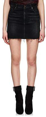 Saint Laurent Women's Frayed-Hem Denim Miniskirt