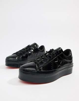 Converse One Star platform ox black trainers