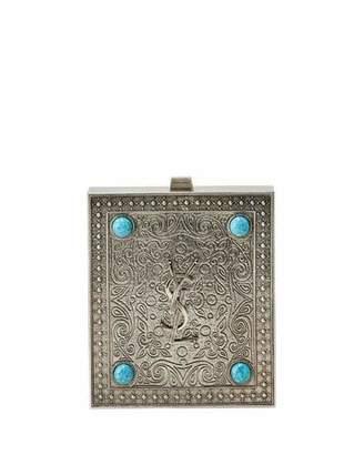Saint Laurent Tuxedo Box Minaudiere with Turquoise-Hued Studs