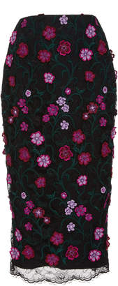 Lela Rose Embroidered Floral Lace Midi Skirt